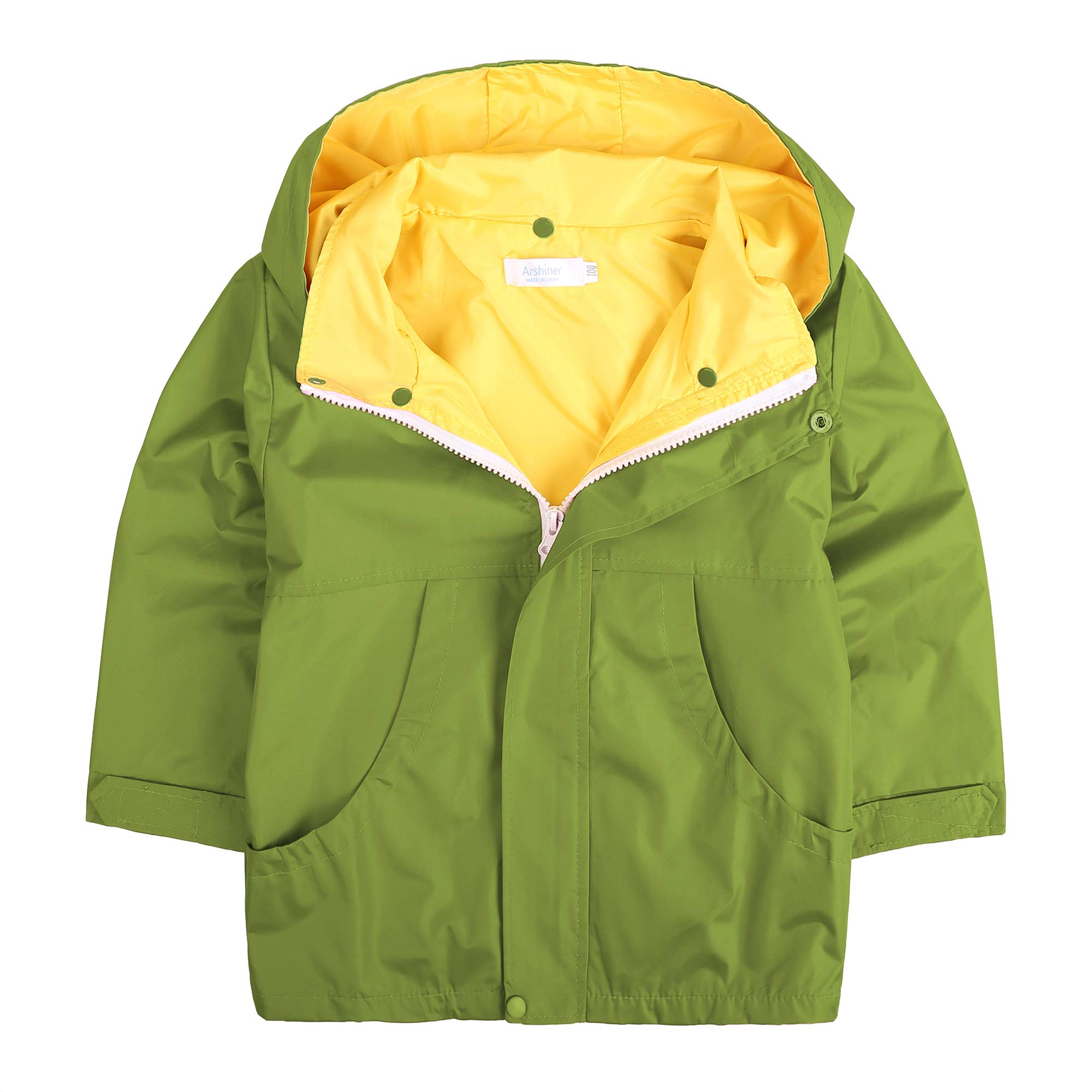 Arshiner Girls Waterproof Raincoats Kids Hooded Rain Jacket Olive Green 120