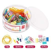 Deli Binder Paper Clips Push Pins Rubber Band Set with Tub, Includes 100 Pcs Paper Clips, 50 Pcs Push Pins, 10 Pcs Binder Clips, 12 g Rubber Band, Assorted Colors