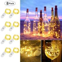 LE Fairy Lights Battery Operated, 3.3ft 20 Micro Starry LED Warm White Decorative Copper String Lights for Indoor Outdoor Wedding, Party, Bedroom, Mason Jar, Crafts, Home Accents and More, Pack of 8