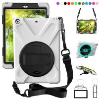 ZenRich New iPad 9.7 2017 2018 Case,360 Degree Rotatable with Kickstand,Hand Strap and Shoulder Strap case, 3 Layer Hybrid Heavy Duty Shockproof case for iPad 9.7 5th/6th Generation (White)
