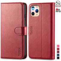 TUCCH iPhone 11 Pro Max Wallet Case, Magnetic Auto Wake Sleep RFID Protection Card Slots [TPU Shockproof Interior Case], PU Leather Stand Flip Cover Compatible with iPhone 11 Pro Max 6.5 inch, Red