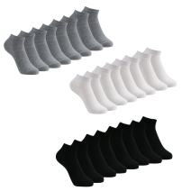 No Show Low Cut Socks for Men and Women, White/Grey/Black, 12 Pack