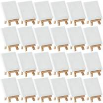 "MEEDEN Mini Stretched Canvas with Beech Wood Easel of 24Pack, 4"" by 4"" Primed Canvas with 3"" by 5"" Tiny Easel for Painting Craft Drawing Decoration Gift"