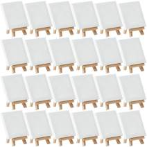 """MEEDEN Mini Stretched Canvas with Beech Wood Easel of 24Pack, 4"""" by 4"""" Primed Canvas with 3"""" by 5"""" Tiny Easel for Painting Craft Drawing Decoration Gift"""