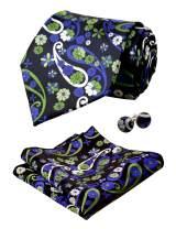 Alizeal Mens Handmade Floral Tie, Hanky and Cufflinks Set