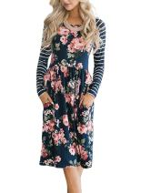 HOTAPEI Juniors Fall Striped Long Sleeve Floral Print Casual Loose Swing Pleated Modest Tunic Shift T-Shirt Dresses for Women with Pockets Knee Length Empire Waisted Skater Midi Dress Large