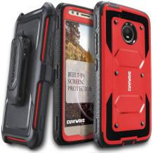 Moto E4 Case, COVRWARE [Aegis Series] w/Built-in [Screen Protector] Heavy Duty Full-Body Rugged Holster Armor Case [Belt Swivel Clip][Kickstand] for Moto E (4th Generation), Red