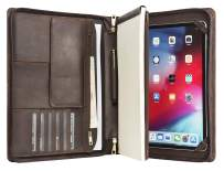 Handcrafted Leather Tablet Portfolio for 12.9-Inch iPad Pro (2nd Gen 2017), Business Briefcase with Retractable Handle, Ideal for Right or Left-Handed (Non-Custom, Dark Brown)