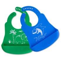 Brinware Baby Feeding Set Silicone Baby Bib for Babies & Toddlers Waterproof with Large Food Pocket -Dinosaur & Shark