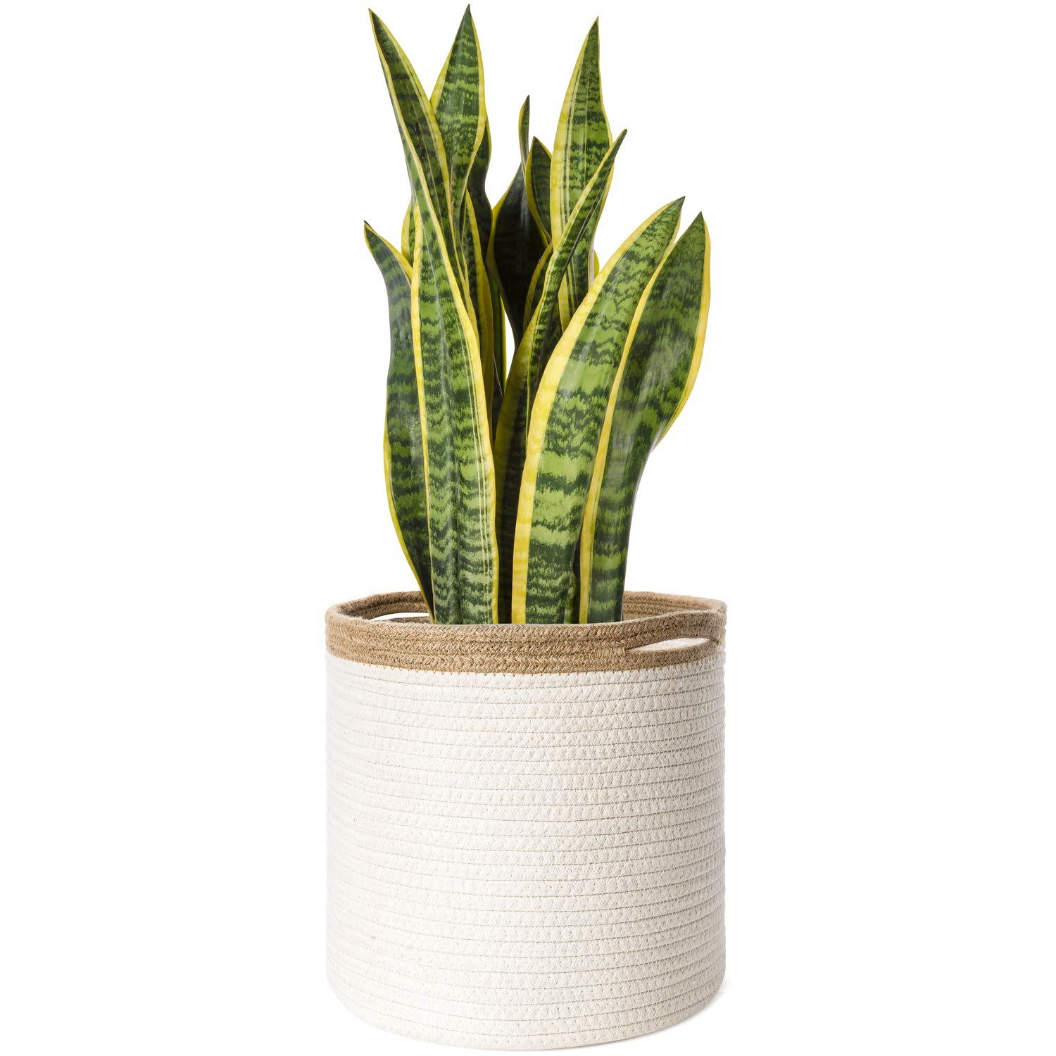 """Mkono Cotton Seamed Jute Rope Plant Basket Modern Floor Indoor Planter Cover Up to 10 Inch Flower Pot Woven Storage Organizer with Handles Decorative Home Decor, 11"""" x 11"""""""