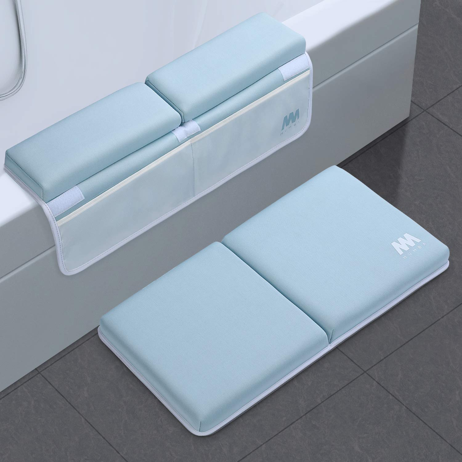 Baby Bath Kneeler and Elbow Rest, 1.5 inch Thick Non-Slip Bottom Kneeling Pad Chushion with 4 Pockets, Mumba Foldable Waterproof Bath Mat, Machine Washable and Hangable, Perfect Shower Gift