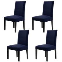 Fuloon 4 Pack Super Fit Stretch Removable Washable Short Dining Chair Protector Cover Seat Slipcover for Hotel,Dining Room,Ceremony,Banquet Wedding Party (Dark Blue)