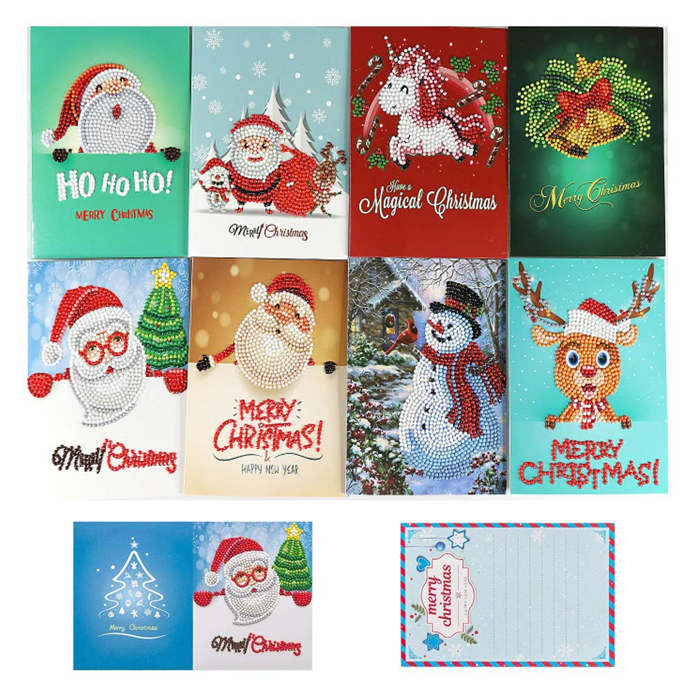 OWAY 8 Pack Christmas Cards Diamond Painting Kits Paint by Number Kits Christmas DIY Gift for Holiday, Friends and Family