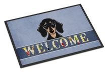 Caroline's Treasures BB1401MAT Smooth Black and Tan Dachshund Welcome Indoor or Outdoor Mat 18x27, 18H X 27W, Multicolor