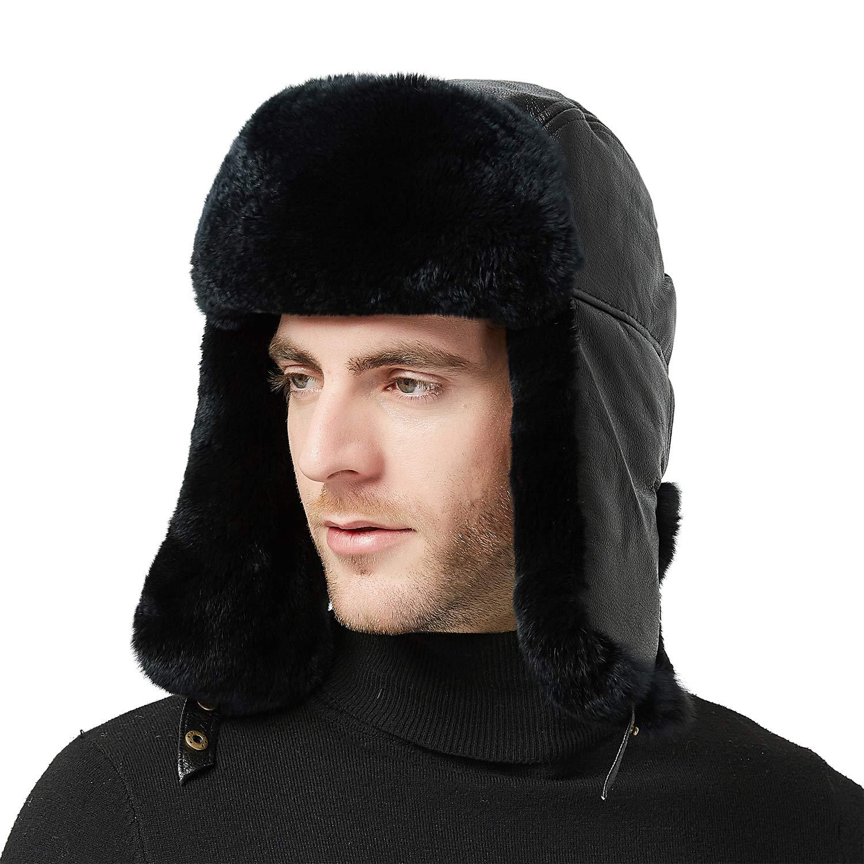 IKEPOD Sheep Leather Rabbit Fur Aviator Russian Ushanka Ear Flap Winter Men Trapper Hat