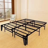 JURMERRY Foldable Bed Frame Metal Platform Base 16Inch Box Spring Replacement Mattress Foundation Heavy Duty Steel Slat (Black, Queen-16)