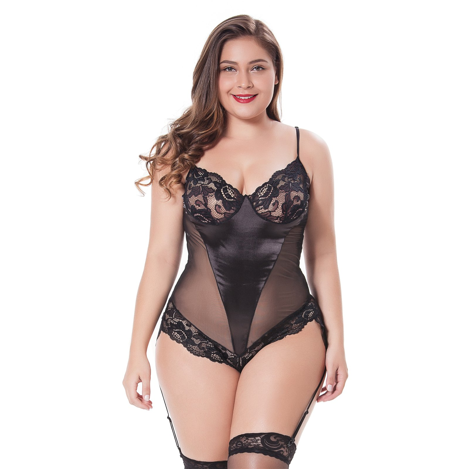 Women's Plus Size Lace Babydoll Bodysuit Teddy Chemise Lingerie One Piece Babydoll Nightwear Leotard S M L XL 2XL 3XL 4XL