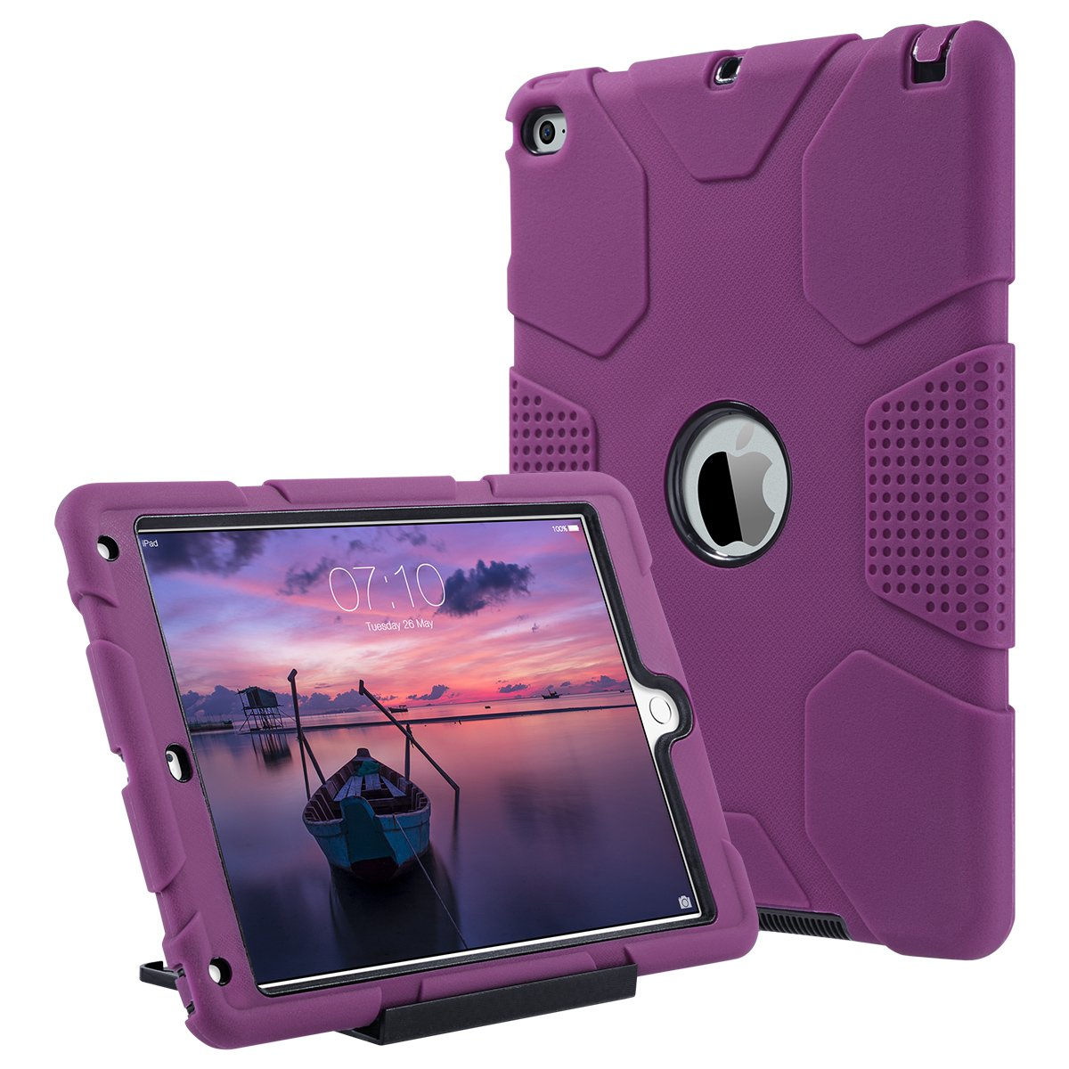ULAK iPad Air 2 Case, Heavy Duty Apple iPad Air 2 Shockproof Rugged Protective Case with Separate Kickstand for Apple iPad Air 2 (2014 Release) - Deep Fuchsia/Black