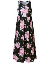 Jxstar Girls Maxi Dresses Long Dress Floor Length with Pockets Black/Floral