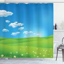 """Ambesonne Landscape Shower Curtain, Cartoon Scenery Clouds Valley Hills Grass Sunbeams Flowers Artprint Image, Cloth Fabric Bathroom Decor Set with Hooks, 70"""" Long, White Green"""