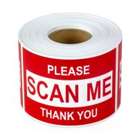 """TUCO DEALS - 2"""" x 3"""" Rectanle Please, Scan Me, Thank You Self Adhesive Warning Shipping Mailing Labels/Stickers (Red / 300 Labels Per Roll)"""