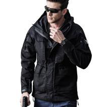 Men Outdoor Jacket Casual Tactical Waterproof Army Military Windbreaker Warm Long Sleeve Hooded Full Zip Up Rain Coat Winter Spring Autumn Fishing Camping Hiking Hunting Black