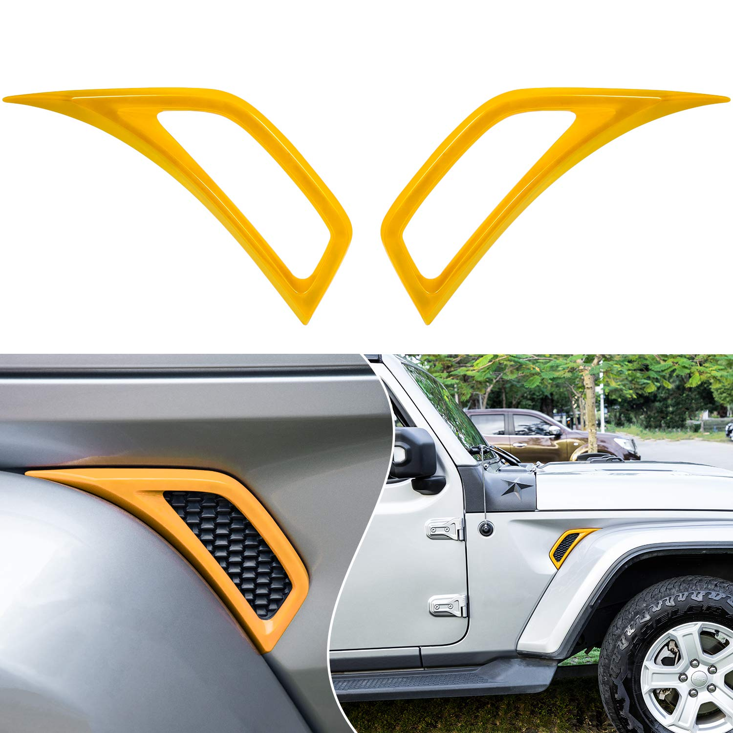 Bonbo Exterior Accessories Car Wheel Eyebrow Side Air Conditioning Vent Outlet Decoration Cover Trim ABS for 2018-2021 Jeep Wrangler JL JLU & Gladiator JT 2PCS (Yellow)