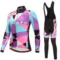 MILOTO Women's Cycling Jersey Black Bib Pants Set Long Sleeve Biking Suits