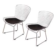 MLF Harry Bertoia Wire Side Chair (Set of 2). Chromed Wire Frame with Plastic Feet & PU Leather Cushion. (Black)
