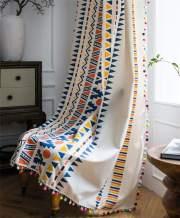 YOU SA Colorful Geometric Striped Print Curtains Cotton Linen Blend Rod Pocket Window Treatment Set for Bedroom 2 Panels (59''Wx94''L,Multi)