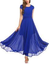 Zeagoo Women's Casual Cap Sleeve Ruched Chiffon Bridesmaid Maxi Dress