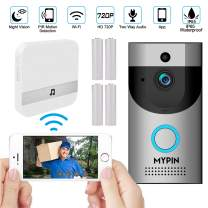 WiFi 720P Video Doorbell Camera,Waterproof IP65 Wireless Doorbell with Cloud Storage and Security Camera with Chime and Battery, Two-Way Talk, PIR Motion Detection, Night Vision