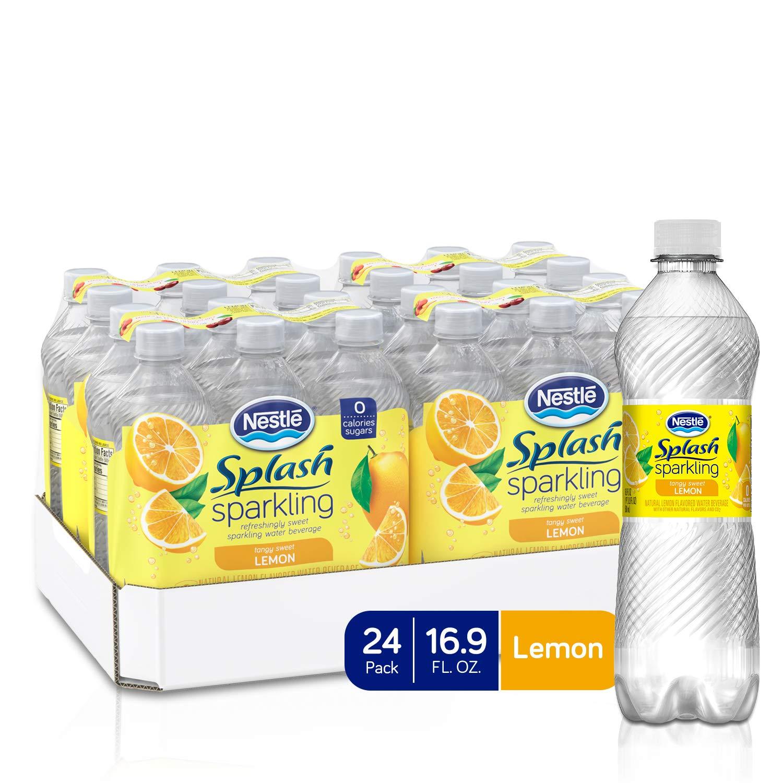 Nestle Splash Sparkling Flavored Water Beverage, Lemon, 16.9 fl oz. (24 Pack)