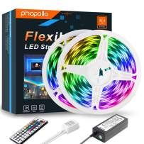 PHOPOLLO LED Strip Lights, 32.8ft RGB Color Changing 5050 Supper Brightness 600LEDs Waterproof Flexible LED Tape Light Kit with 44 Key IR Remote Controller and 12V Power Supply for Room, Bedroom