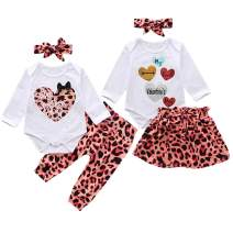Newborn Baby Girls Twin Sister Outfits Love Romper Leopard Tutu Skirt Pants Sets Clothes