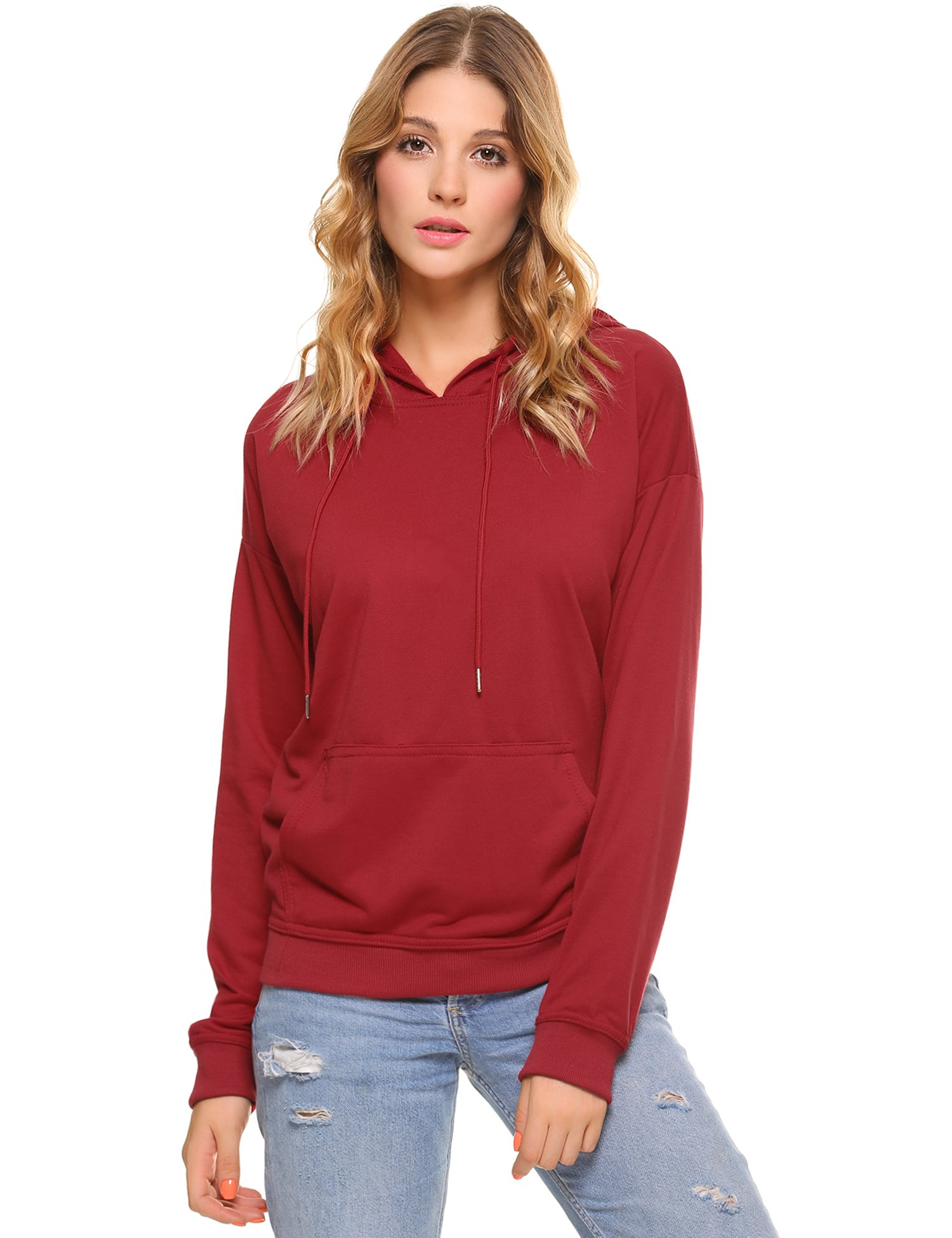 Aibrou Womens Sweatshirt Striped Long Sleeve Casual Pullover Hoodie with Pocket