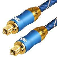 Optical Audio Cable Digital Toslink Cable - [Nylon Braided Jacket,Durable and Flexible] EMK Fiber Optic Cord for Home Theater, Sound bar, TV, PS4, Xbox & More (49Ft/15M)