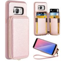 ZVE Case for Samsung Galaxy S8, 5.8 inch, Leather Wallet Case with Card Holder Slot Zipper Wallet Pocket Purse Handbag Wrist Strap Protective Cover for Samsung Galaxy S8, 5.8 inch 2017 - Rose Gold