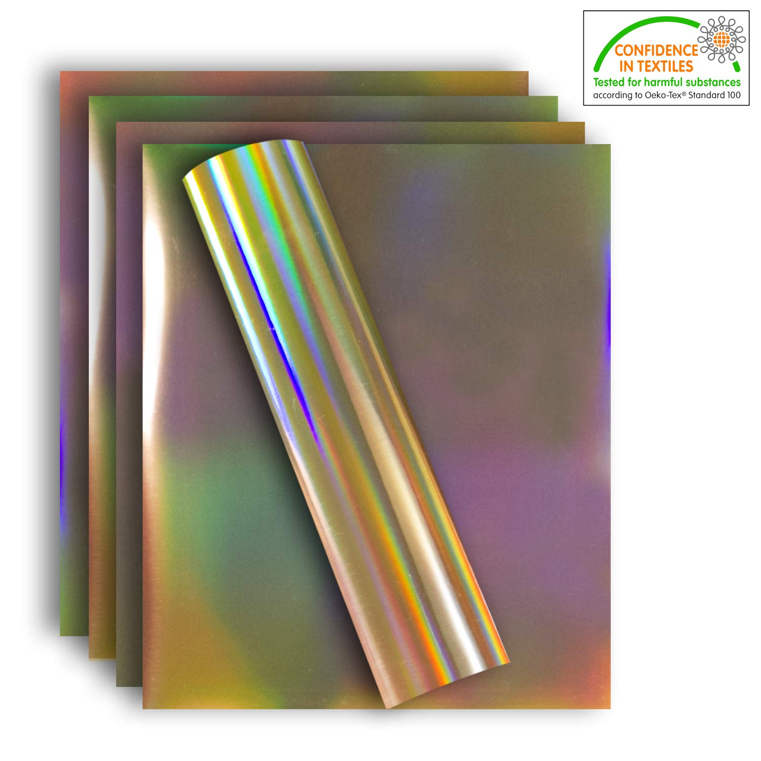 Holographic Stretchable Metallic Heat Transfer Vinyl Iridescent Gold Foil, Iron On HTV Bundle for DIY Your Own Clothes, 12x10 Inch, Pack of 5 Sheets, Eco-Friendly