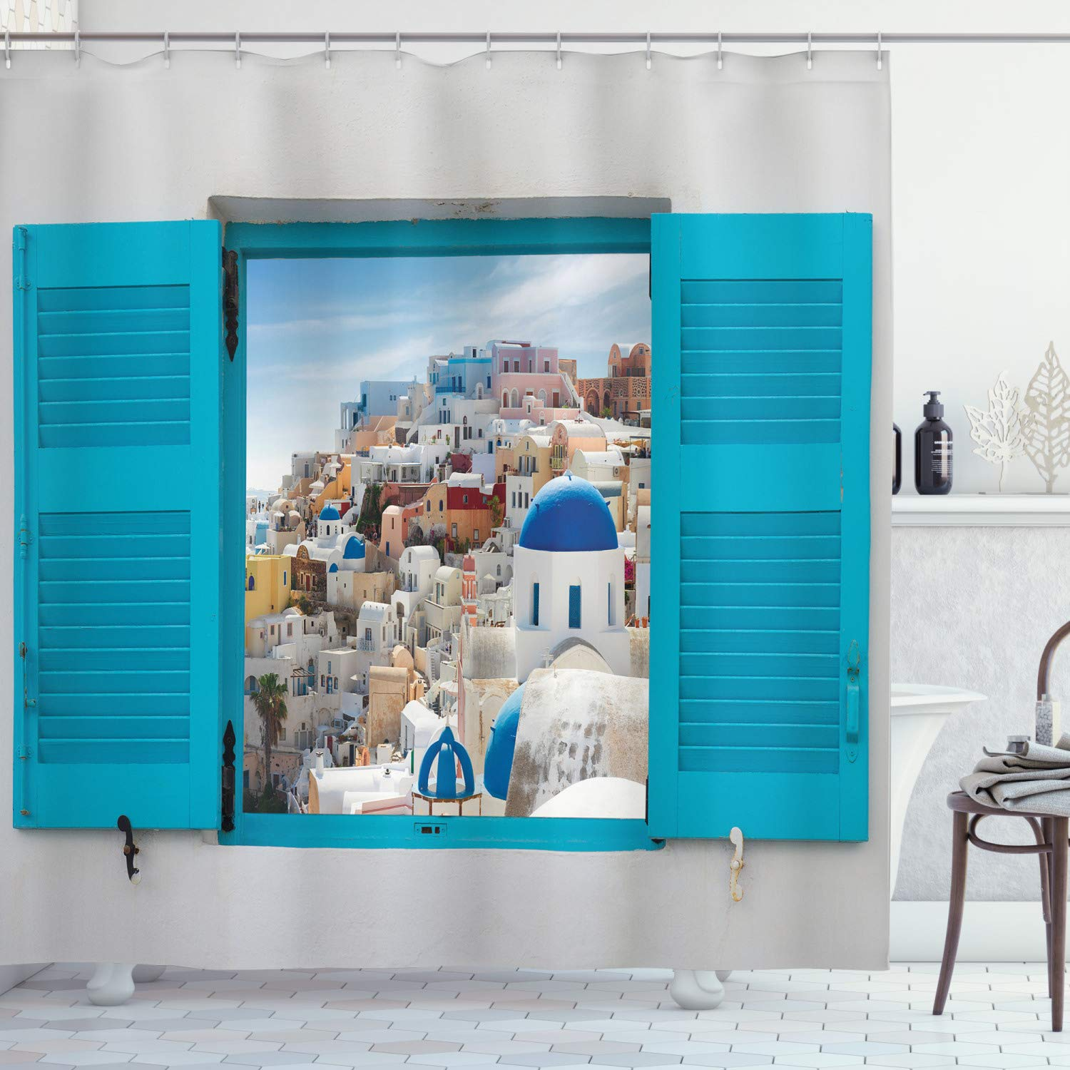 """Ambesonne European Shower Curtain, Old Shutters of Window with View of Traditional Greek Village Heritage Culture, Cloth Fabric Bathroom Decor Set with Hooks, 70"""" Long, Gray Blue"""