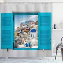 """Ambesonne European Shower Curtain, Old Shutters of Window with View of Traditional Greek Village Heritage Culture, Cloth Fabric Bathroom Decor Set with Hooks, 84"""" Long Extra, Gray Blue"""