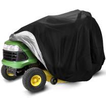 Lawn Mower Cover, Riding Lawn Mower Cover Lawn Tractor Cover Waterproof Heavy Duty, Zero Turn Mower Cover Fits Decks up to 54 Inch with Drawstring Windproof Buckle & Storage Bag-72 x 54 x 46 inch
