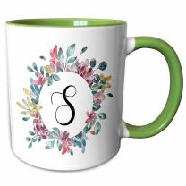 3dRose Mug, 11oz, Green/White