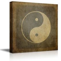 "Canvas Prints Wall Art - Yin Yang Symbol on Vintage, Textured Background - 12"" x 12"""
