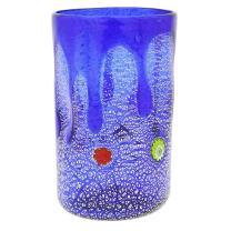 GlassOfVenice Murano Glass Tall Drinking Glass - Silver Lava Blue