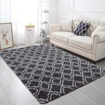 Softlife Fluffy Bedroom Rugs 4' x 6' Shaggy Geometric Design Area Rug for Girls Baby Room Kids Living Room Home Decor Floor Carpet, Grey & White