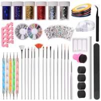 Makartt 108 PCS Nail Art Tools Set, Painting Brushes, 3D Nail Sticker Decals, Dotting Pen, Nail Gems, Nail Art Sponges, Nail Transfer Stickers, Nail Striping Tapes, Tweezers, Nail File, S-07