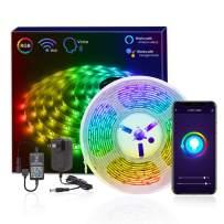 HitLights Smart LED Strip Lights WiFi LED Tape Light Kit, 16.4FT RGB 12V LED Color Changing 5050 Strips Compatible with Alexa, Echo, Google Home, Smart Phone Controlled