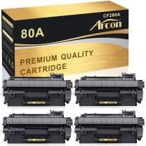 Arcon Compatible Toner Cartridge Replacement for HP 80A CF280A 80X CF280X for HP Laserjet Pro 400 M401A M401D M401N M401DN M401DNE M401DW, Laserjet Pro 400 MFP M425DN Laser Ink Printer Black-4PK
