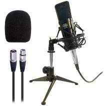 AxcessAbles MX-100 Professional Cardioid Studio Condenser Microphone with shockmount. Compatible with Focusrite Scarlett, M-Audio, PreSonus, Phantom Powered Audio Mixers. Recording,Podcast, Zoom